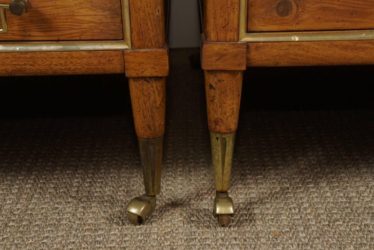 Pair of End Tables with a Maple Finish and Marble Tops For Sale 4