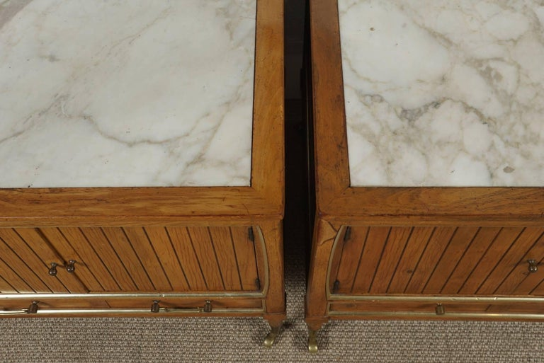 Pair of End Tables with a Maple Finish and Marble Tops For Sale 5