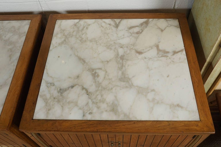 Pair of End Tables with a Maple Finish and Marble Tops For Sale 6