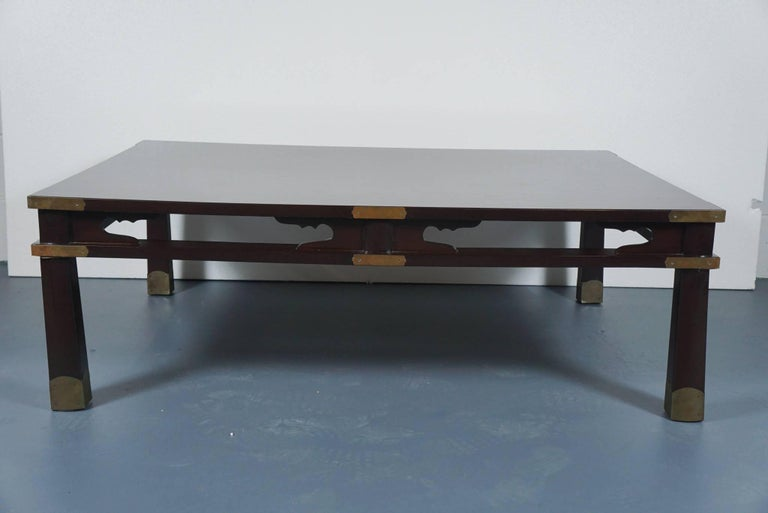 Lacquered Chinese Coffee Table in Dark Brown 2