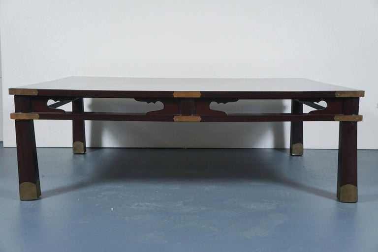 Lacquered Chinese Coffee Table in Dark Brown 3