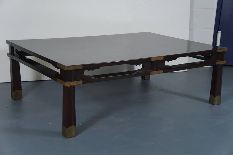 Lacquered Chinese Coffee Table in Dark Brown 6