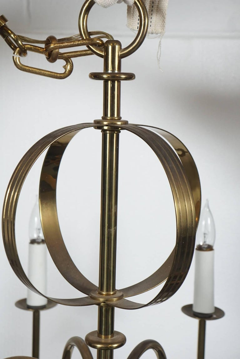American Tommi Parzinger Brass Chandelier For Sale