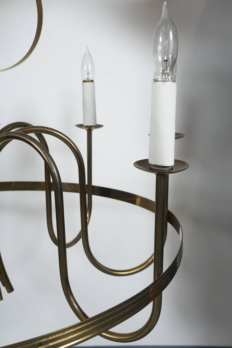 Mid-20th Century Tommi Parzinger Brass Chandelier For Sale