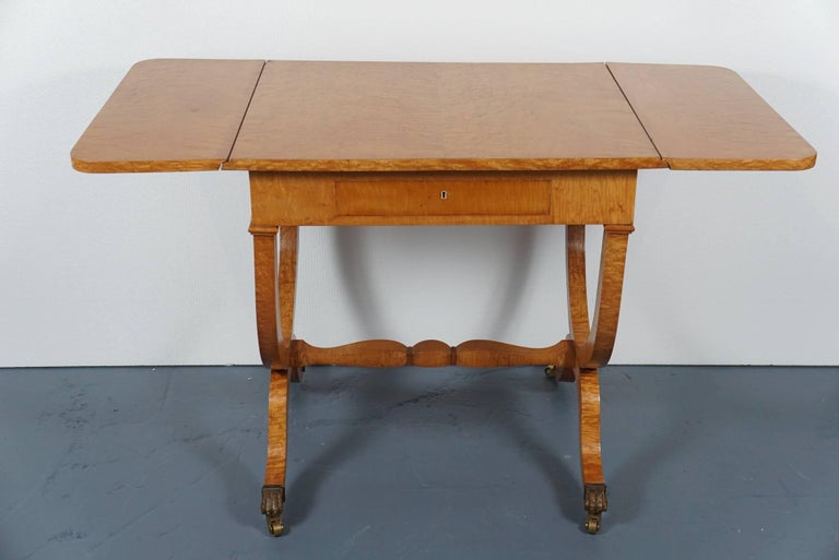 German Biedermeier Drop Leaf Table For Sale