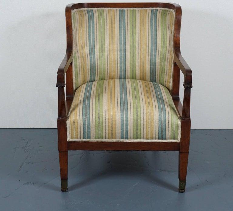 Empire Mahogany Chair in Striped Fabric 2