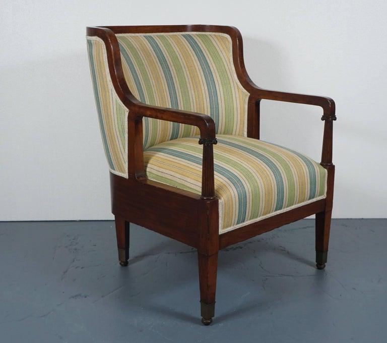 Empire Mahogany Chair in Striped Fabric 3