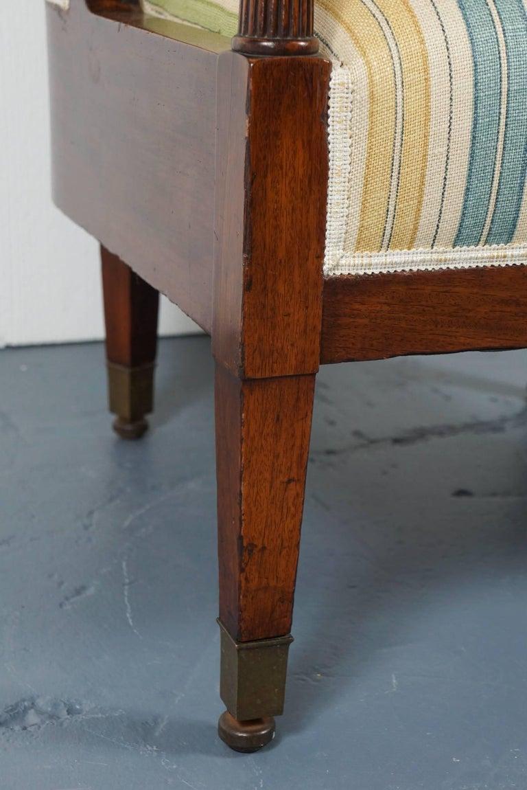 Empire Mahogany Chair in Striped Fabric 9