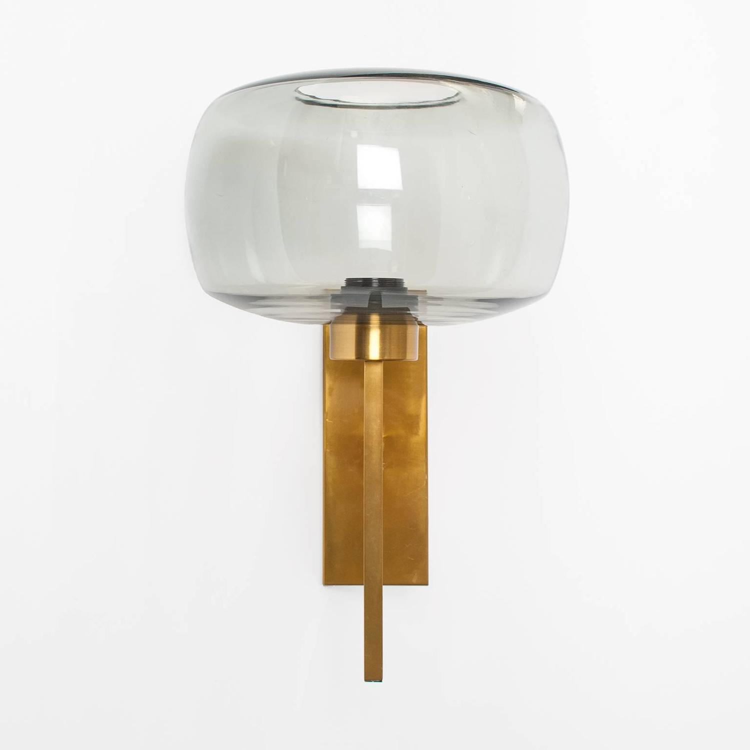 Grey Glass Wall Lights : Pair of Scandinavian Modern Brass Sconces with Gray Glass Shades For Sale at 1stdibs