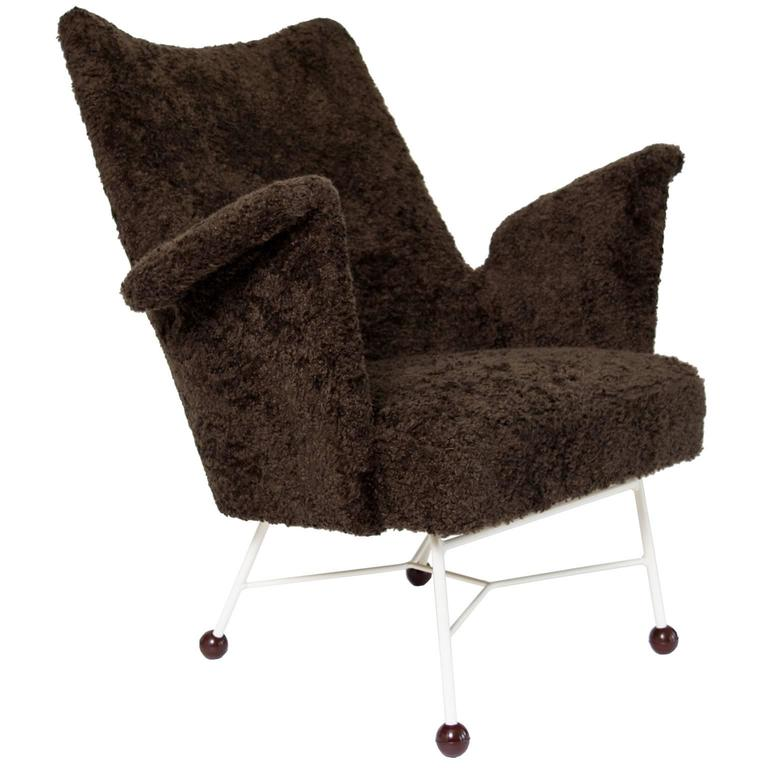 Scandinavian Modern Midcentury Upholstered Lounge Chair with Bakelite Ball Feet
