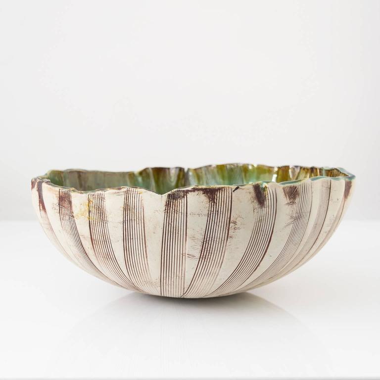 Swedish Unique Scandinavian Modern Glazed Bowl by Artist Bengt Berglund For Sale