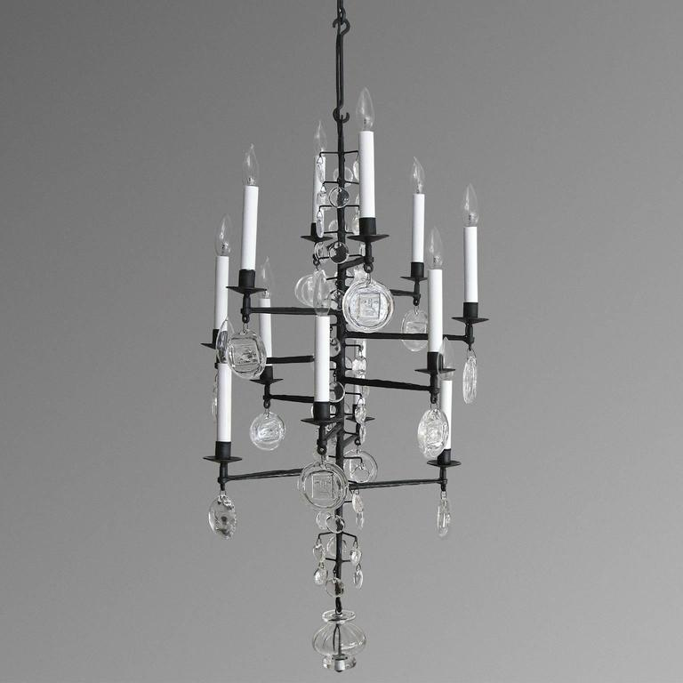 Scandinavian modern erik hoglund electrified twelve arm iron scandinavian modern wrought iron chandelier with clear crystals newly electrified 12 candelabra base lights aloadofball Image collections