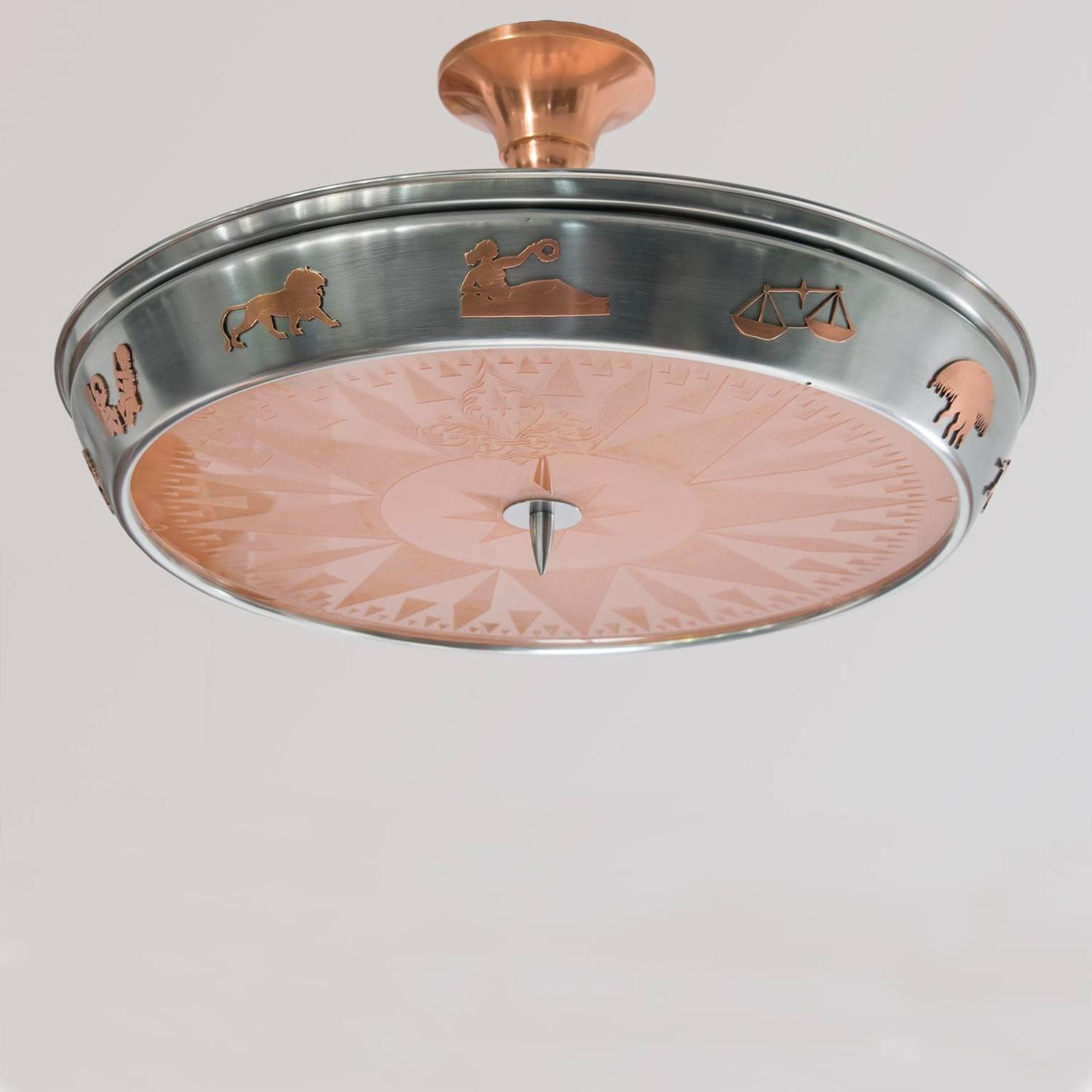 Scandinavian Modern Polished Steel And Copper Pendant With