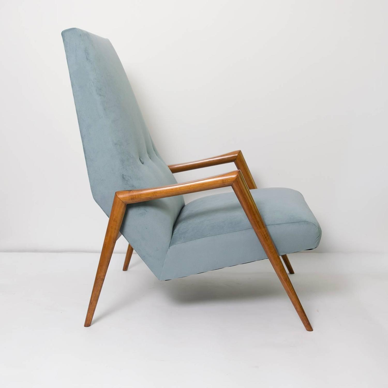 Scandinavian Modern Lounge Chair High Back Carved Fruit Wood At 1stdibs