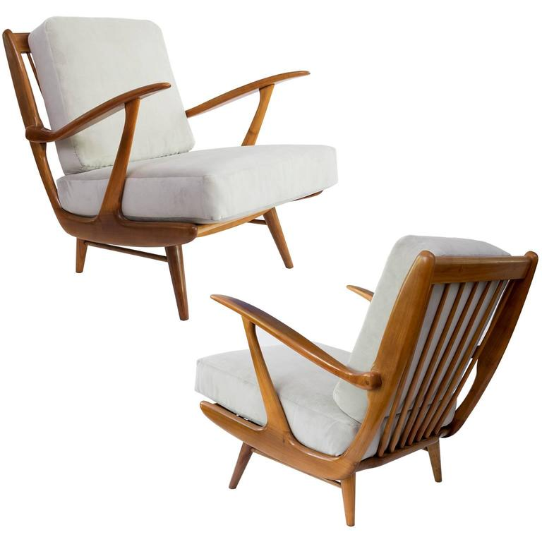 Dutch Mid-century Modern carved armchairs by B. Spuij's, Holland. (a)