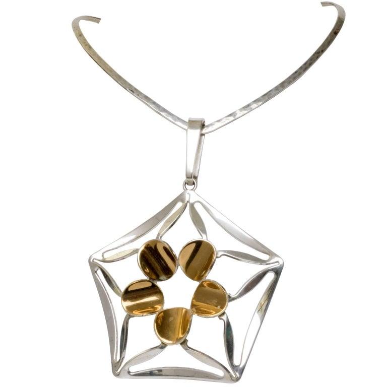 Scandinavian Modern Silver Necklace by K.E. Palmberg for Alton, Falköping For Sale