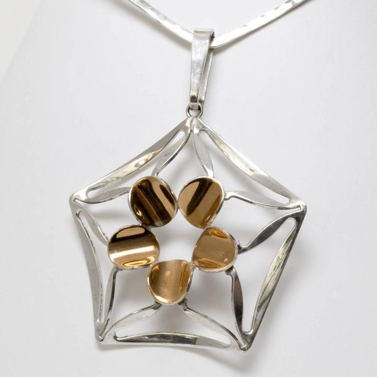 Scandinavian Modern Silver Necklace by K.E. Palmberg for Alton, Falköping In Excellent Condition For Sale In New York, NY