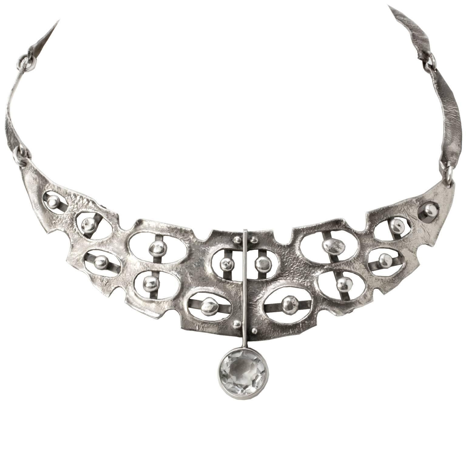 Scandinavian Modern Sterling Silver Necklace with Rock Crystal, Issac Cohen