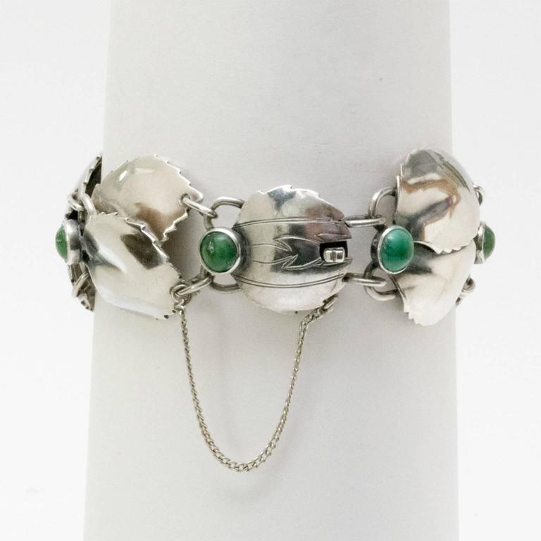 20th Century Scandinavian Modern Silver & Malachite Bracelet,Gertrud Engel, A. Michelsen 1950 For Sale