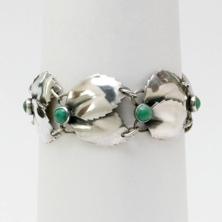 Scandinavian Modern Silver & Malachite Bracelet,Gertrud Engel, A. Michelsen 1950 In Excellent Condition For Sale In New York, NY