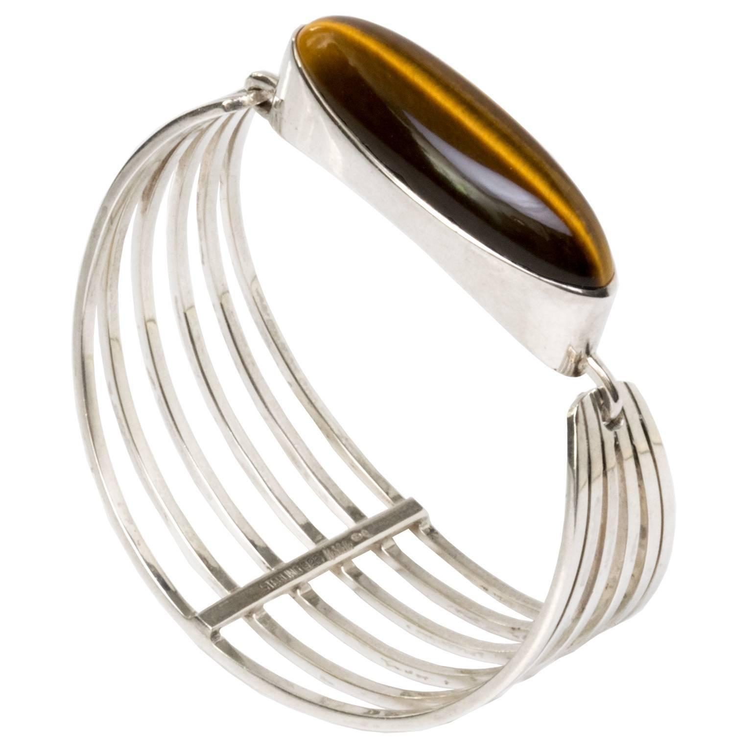 Scandinavian Modern Silver Bracelet with Tigers Eye Stone by Noblelle, Denmark