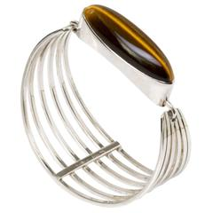 Scandinavian Modern Silver Bracelet with Tigers Eye Stone by Noblelle, Denmark