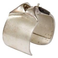 Scandinavian Modern Bjorn Weckstrom Patinated Silver Bracelet, Lapponia, Finland