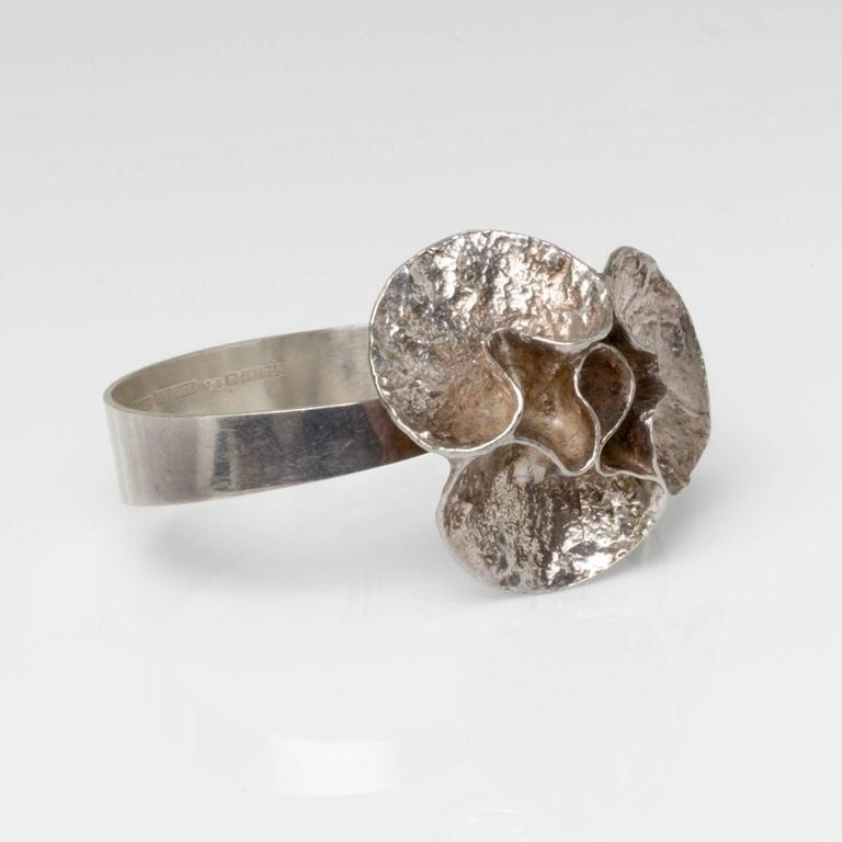 Silver bracelet with acid treated surface by Theresia Hvorslev and stamped 'Mema', Lidkoping, Sweden, 1976. Measures: Depth: 2.75