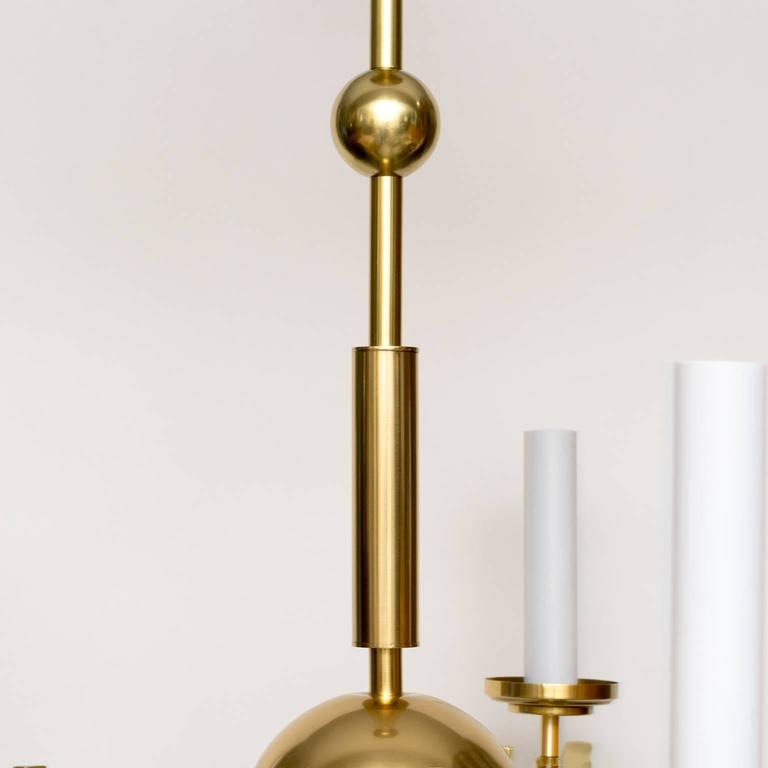 Modern Arm Chandelier: Scandinavian Modern Chandelier Five Arm Polished Brass