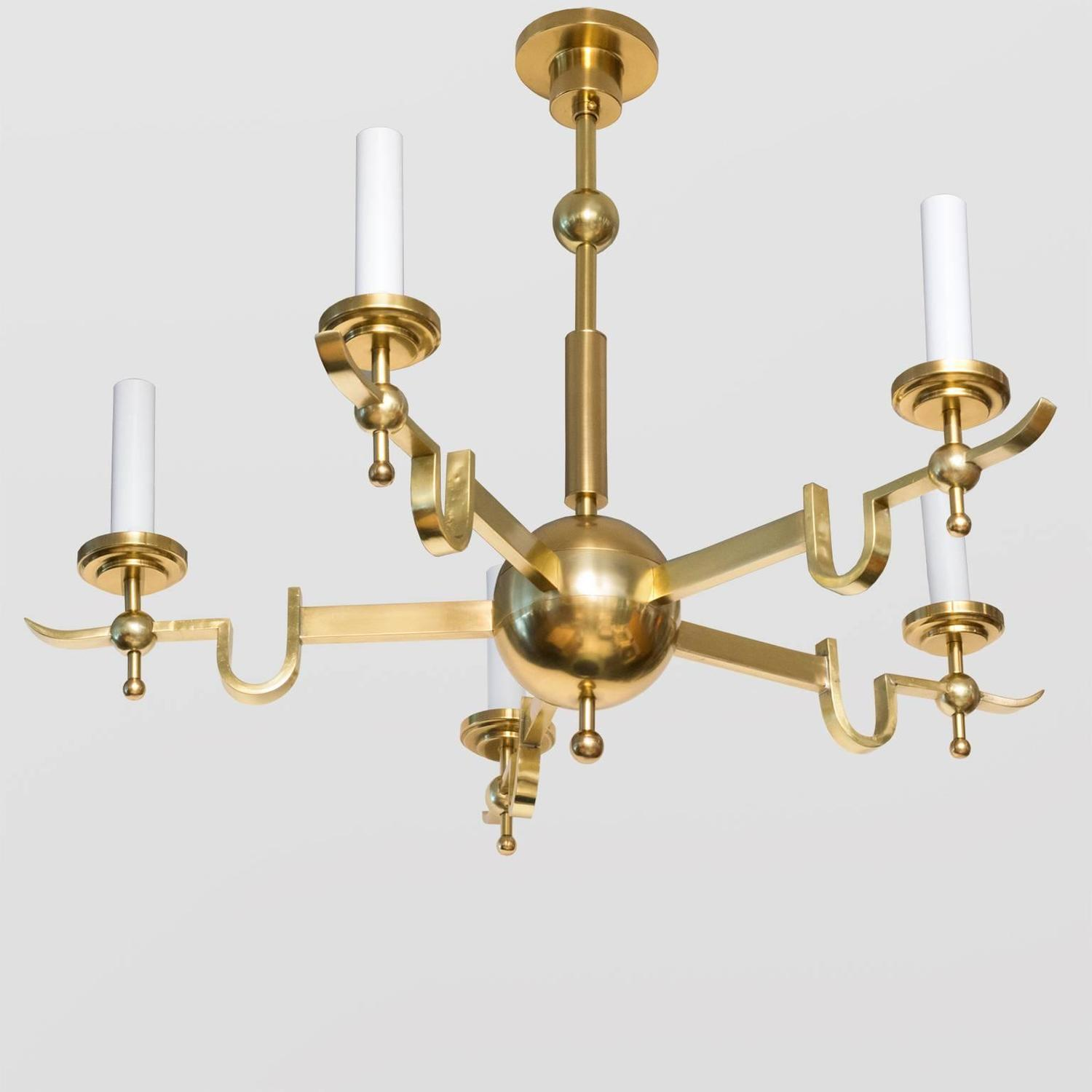 Modern Arm Chandelier: Scandinavian Modern Five-Arm Polished Brass Chandelier