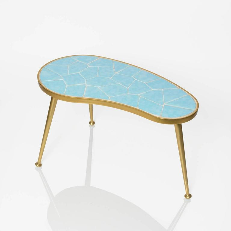 Small kidney shaped tiled occasional table with three legs for Small occasional tables