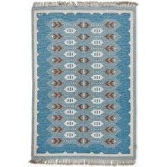 Scandinavian Modern Flat-Weave Rollakan Rug in Blue and Heather Gray