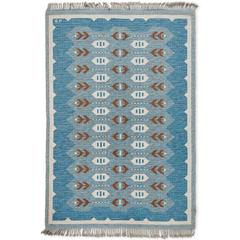 Scandinavian Modern Flat-Weave Rollakan Rug in Blue and Heather Gray