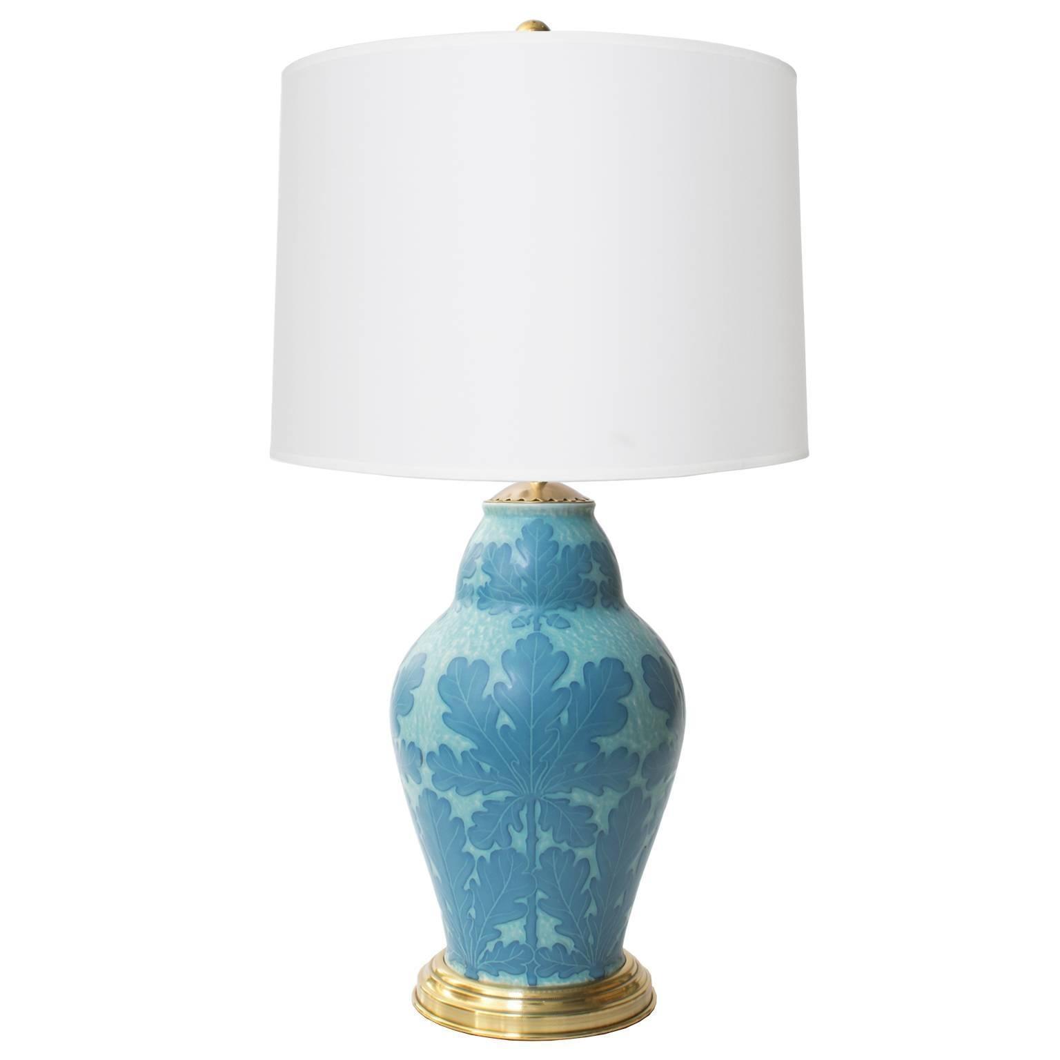 Scandinavian Modern Josef Ekberg Art Deco Ceramic Lamp with Oak Leaf Motif