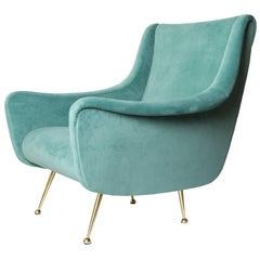 Italian Midcentury Modern Lenzi Upholstered Lounge Chair with Brass Legs