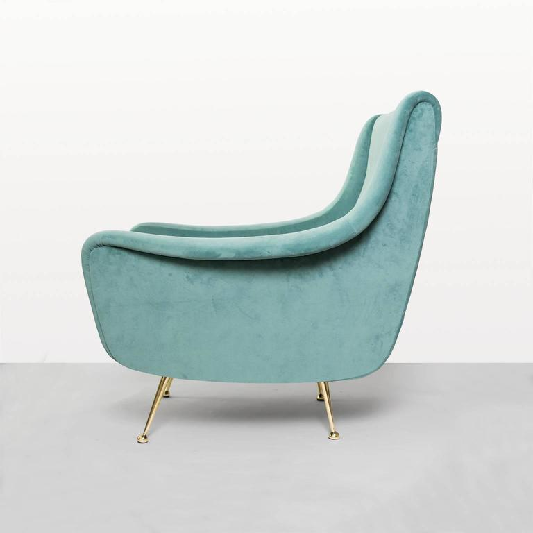 Super Italian Midcentury Modern Lenzi Upholstered Lounge Chair With Brass Legs Spiritservingveterans Wood Chair Design Ideas Spiritservingveteransorg