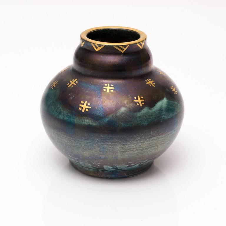 Scandinavian Modern, Art Deco Blue Luster Vase by Josef Ekberg, 1928 In Excellent Condition For Sale In New York, NY
