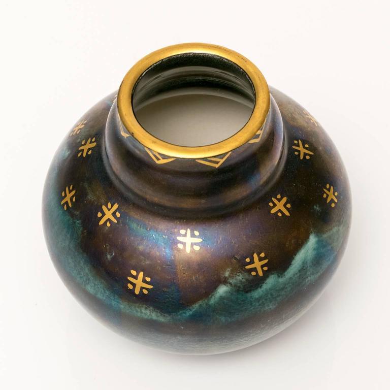 20th Century Scandinavian Modern, Art Deco Blue Luster Vase by Josef Ekberg, 1928 For Sale