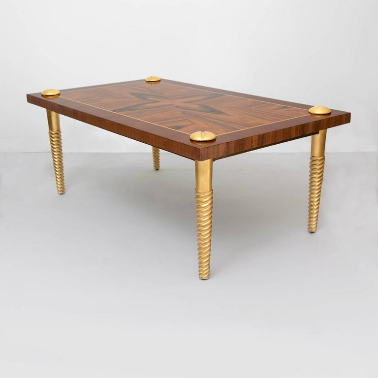 Midcentury Modern Marquetry Coffee Table With Giltwood Screw Legs 3