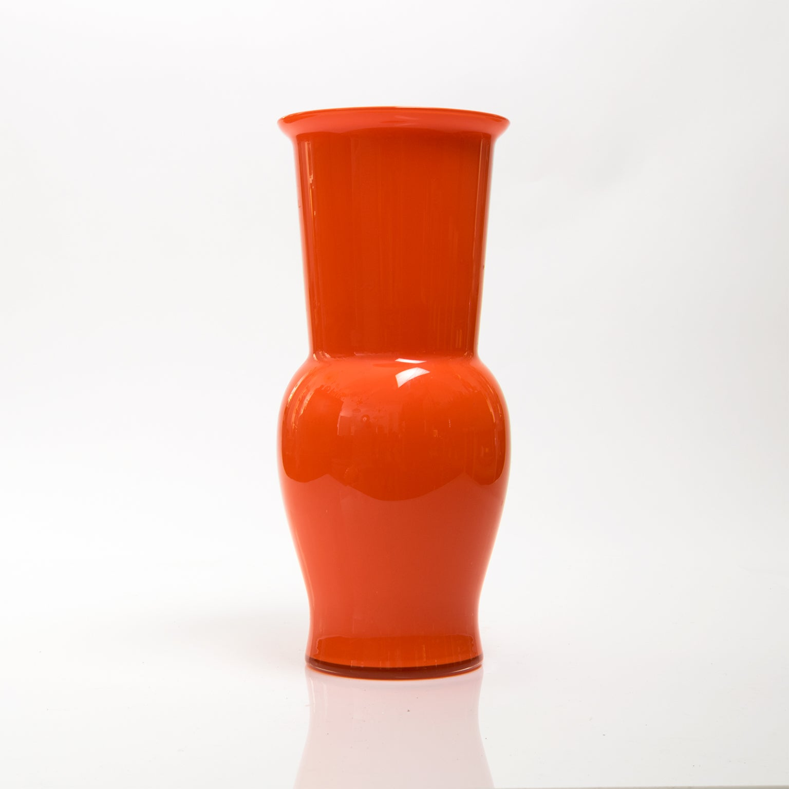 Scandinavian Modern Large Danish Red Orange Glass Vase, 1960S For Sale
