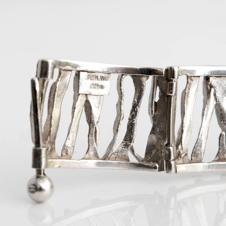 Scandinavian Modern Silver Bracelet from C. Holm, Denmark, 1950s For Sale 1