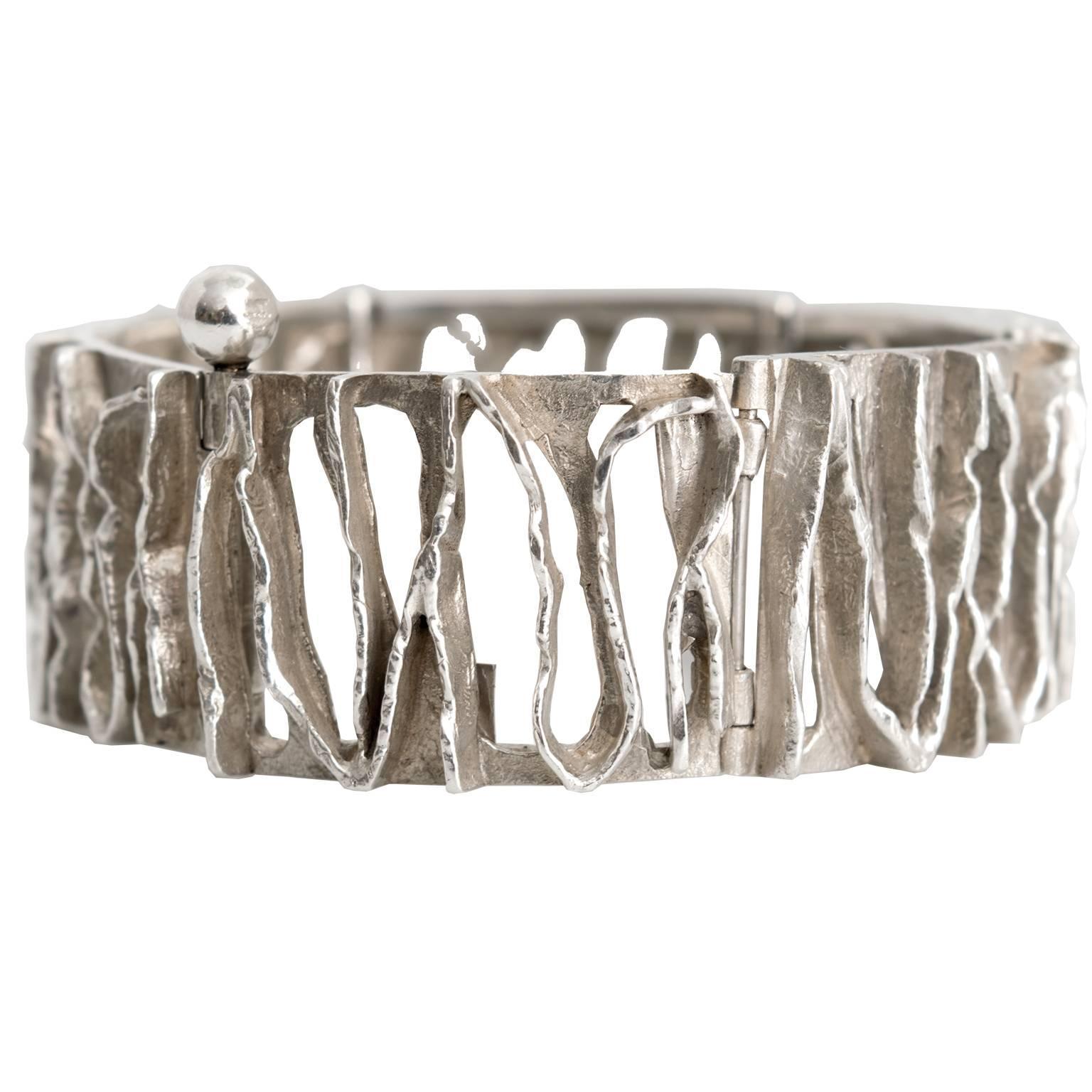 Scandinavian Modern Silver Bracelet from C. Holm, Denmark, 1950s