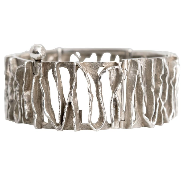 Scandinavian Modern Silver Bracelet from C. Holm, Denmark, 1950s For Sale