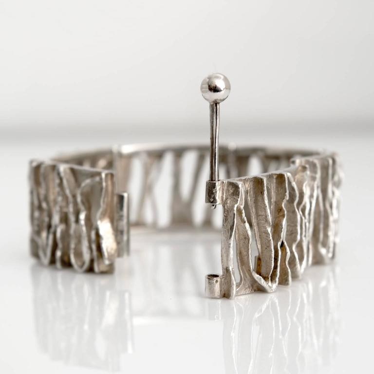Sterling Silver Scandinavian Modern Silver Bracelet from C. Holm, Denmark, 1950s For Sale