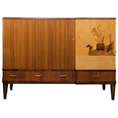 Scandinavian Modern Erik Chambert Cabinet with Tambour Door and Marquetry