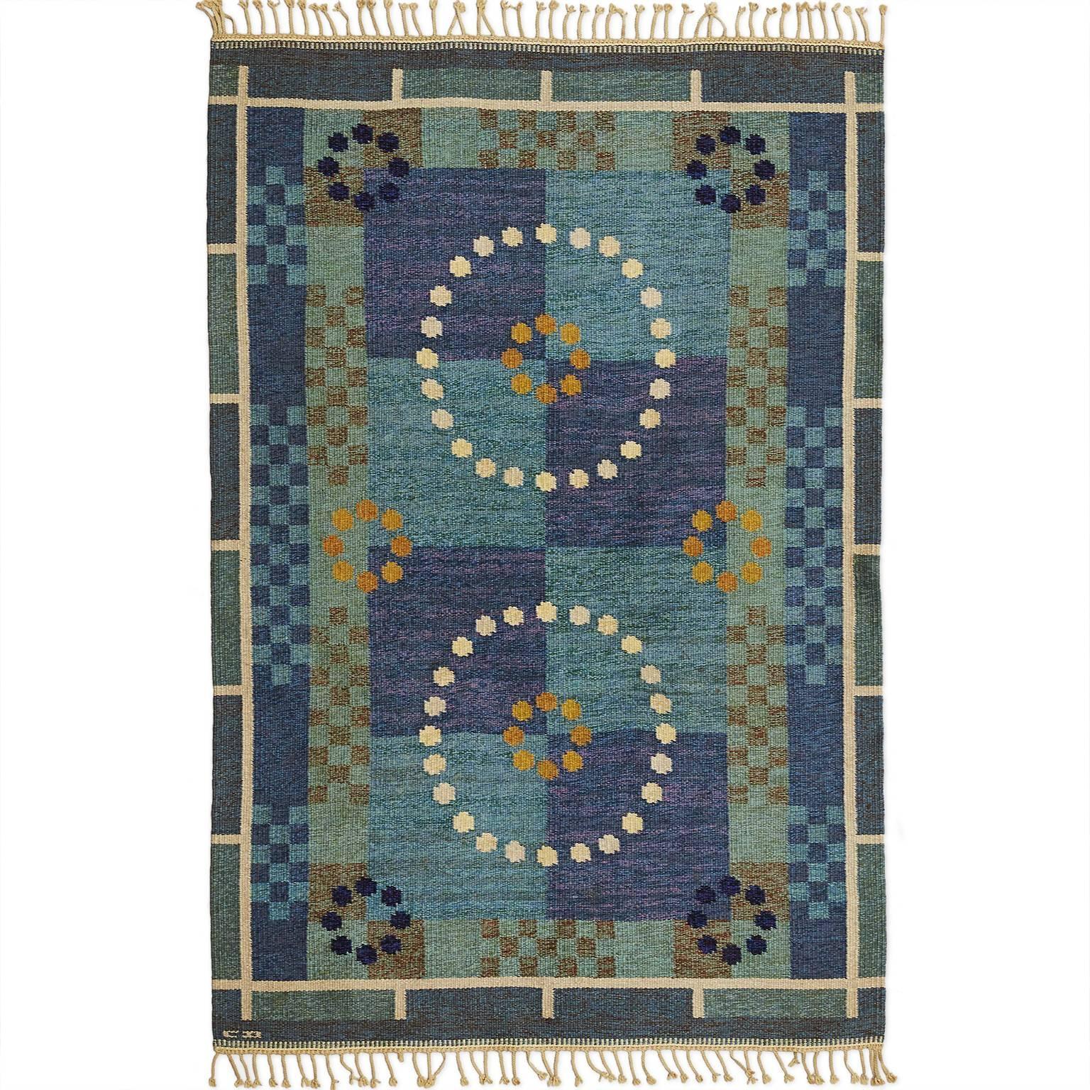 Scandinavian Modern Carl Dangel Wool Flat-Weave Rug
