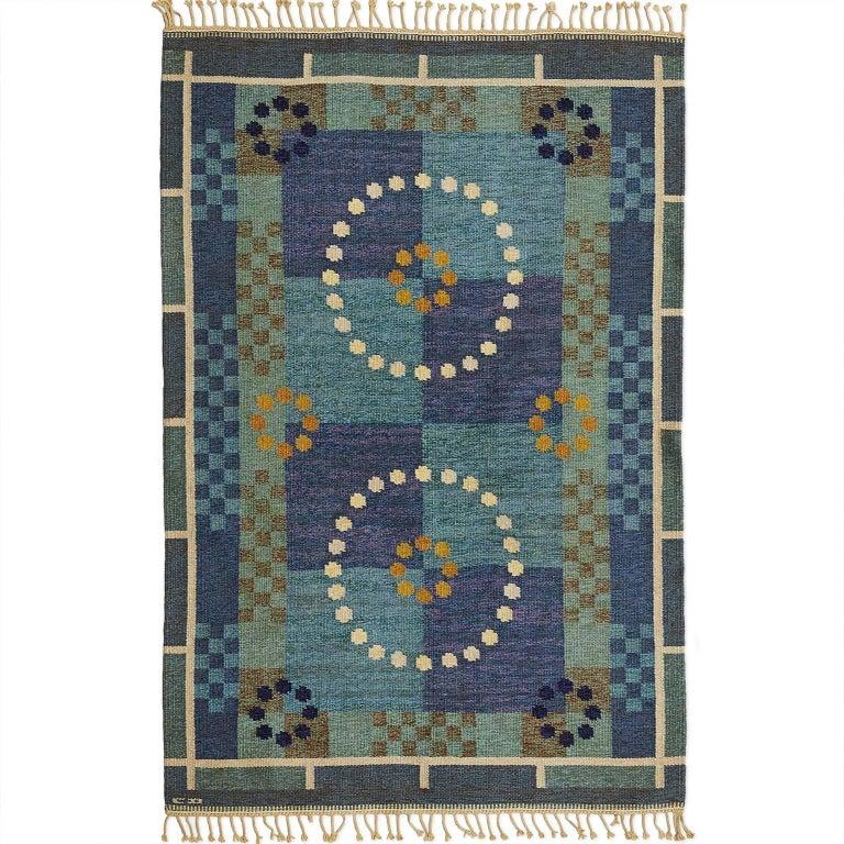 Scandinavian Modern Carl Dangel Wool Flat-Weave Rug For Sale