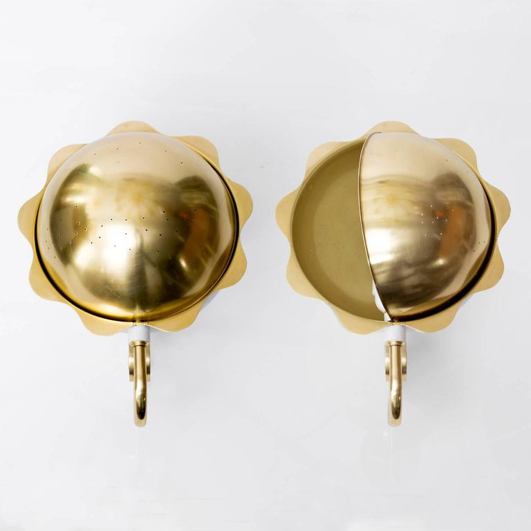 Lacquered Scandinavian Modern Eclipse Sconces, Polished Brass and White Lacquer For Sale