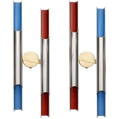 Scandinavian Modern Pair of Bent Karlby Pan-Opticon Double Sconces for Lyfa