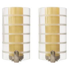 Bohlmarks Scandinavian Modern Art Deco Double Shade Sconces